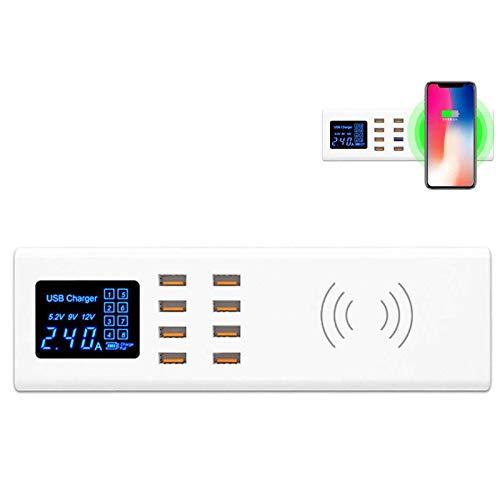 Xflelectronic Estación de Carga inalámbrica, Cargador USB, 8 Puertos USB con Cargador de Escritorio USB QC 3.0 para múltiples Dispositivos/iOS/Android/iPhone/iPad Samsung y más