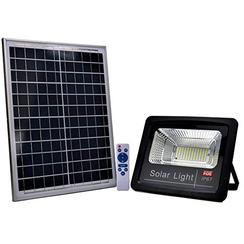 FOS Solar LED Flood Light 100W with Remote Control - Cool White 6500k (IP 65 Water-Proof , Grey )
