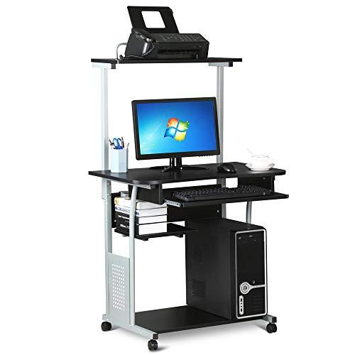 Yaheetech Bureau Informatique avec 3 Tablettes de Rangement Design Table Ordinateur Roulettes avec Freins Bureau Ordinateur Noir 80 x 50 x 132 cm