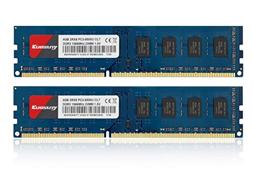 Kuesuny デスクトップPC用 1.5V DDR3 1066MHZ 8GB PC3-8500 4GB×2枚240Pin CL7 Non-ECCUDIMM