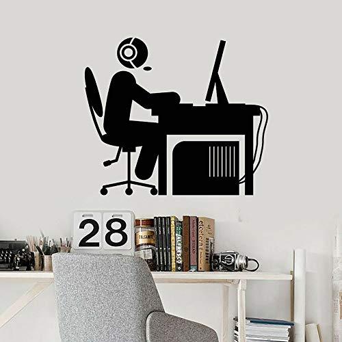 HFDHFH Reproductor de calcomanías de Pared Hombre Auricular Operador Escritorio computadora Vinilo Ventana Pegatinas Dormitorio Sala de Estar Oficina Interior Arte Decorativo