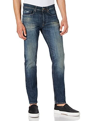 BOSS Herren Taber BC-B-C Tapered-Fit Jeans aus blauem Denim mit Färbungen