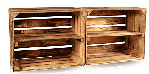 Chiccie Set van 2 gevlamde fruitkisten - lange plank houten kisten wijnkisten hout kisten appelkisten fruitkist gebrand 50 x 40 x 30 cm