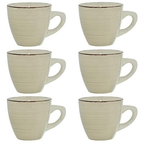 CREOFANT Juego de tazas de café de 6 piezas, tazas de gres para 6 personas, tazas de café, vajilla de gres, servicio de café pintado a mano, color gris