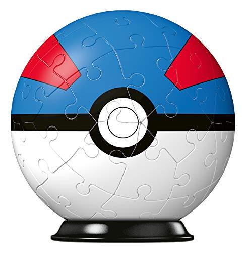RAVENSBURGER PUZZLE 11265 Ravensburger 3D Puzzle 11265-Puzzle-Ball Pokéballs-Superball-[EN] Ball-54 Teile-für Pokémon Fans ab 6 Jahren, White