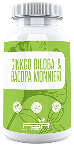 Ginkgo Biloba und Bacopa Monnieri 90 Kapseln, 575 mg pro Kapsel, Vegan - Made in Germany - FSA Nutrition