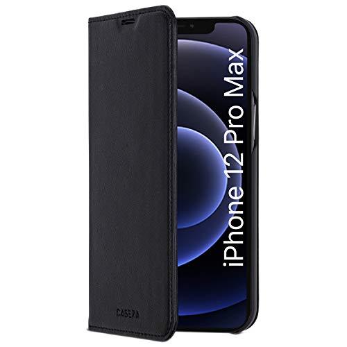 "Funda iPhone 12 Pro MAX Negro - CASEZA Tipo Libro Piel PU Case Cover Carcasa Plegable Cartera Oslo Piel Vegana Premium para Apple iPhone 12 Pro MAX (6.7"") Original - Ultrafina con Cierre Magnético"