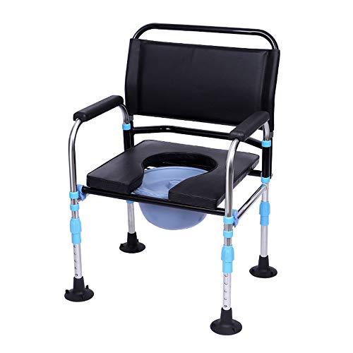 Aly 3 In 1 Zusammenklappbaren Kopfendecommode Stuhl Erwachsener Toilette Raiser äLterer Sicherheit Potty Sitz Mit Saugnapf Anti-Rutsch-Matte -150kg (330lb)