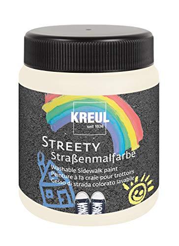Kreul 43101 Streety - Pintura callejera en blanco nube 200 ml, tiza líquida lavable para pintar con pincel o rodillo, tiza líquida, vegana, dermatológicamente probada, lavable