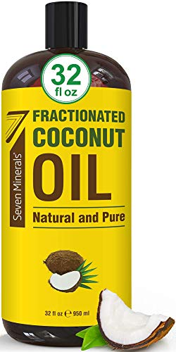 Pure Fractionated Coconut Oil - Big 32 fl oz Bottle - Non-GMO, 100% Natural, Lightweight Massage Oil for Massage Therapy on Skin, Hair, More - Perfect Carrier Oil for Essential Oils