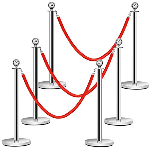 Goplus 6Pcs Stanchion Set, Round Top Polished Stainless Stanchions Posts Queue Pole with 5Ft Red Velvet Rope, Crowd Control Barrier
