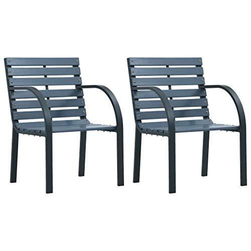 Sunlight - 2 sillas de jardín con reposabrazos de metal, color gris