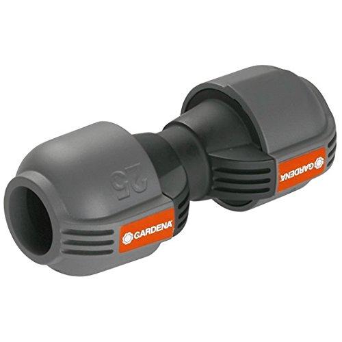 Gardena Sprinklersystem Verbinder: Verbindungsstück für Rohrverlängerung des Verlegerohrs, 25 mm, Quick&Easy Verbindungstechnik, werkzeuglos installierbar mit Gardena Verlegerohre 25 mm (2775-20)