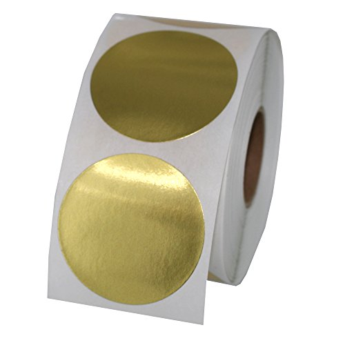 Gold Foil Color Coding Inventory Labeling Dot Labels/Stickers - 1.5 Inch Round Labels 500 Stickers Per Roll