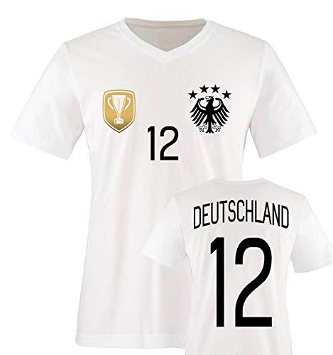 Trikot - Deluxe 2016 - Deutschland - 12 - Herren V-Neck T-Shirt - Weiss/Schwarz-Gold Gr. L