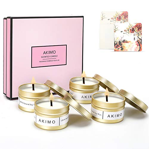Weihnachtskerzen mit Grußkarte Geschenkbox - AKIMO Natural Soy Wax Vegane Kerzen, Geschenkset für Frauen, Thanksgiving, Jubiläum, Aromatherapie, Bad, Yoga - 4er Pack
