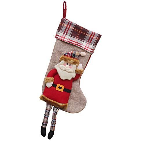 carol -1 Weihnachtsstrumpf Weihnachtsdeko Weihnachten Geschenktasche Zucker Beutel Weihnachtsbaum Deko Stickerei Socken Dekoration Nikolausstrumpf - EIN Echter Klassiker Nikolaussocken für Kinder