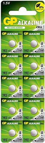 GP Batterien Alkaline Knopfzellen LR41 10 Stück (392, 192, GP192A, LR736, AG3) 1,5V (1,5 Volt Spannung)