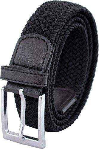 """Ashford Ridge 33mm (1.25"""") cinturón elástico negro (tamaños 130cm - 140cm)"""