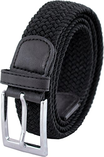 """Ashford Ridge 33mm (1.25"""") cinturón elástico negro (tamaños 110cm - 120cm)"""