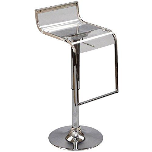 Modway LEM Mid-Century Moderner Barhocker aus Acryl, verstellbar, Drehgelenk, transparent