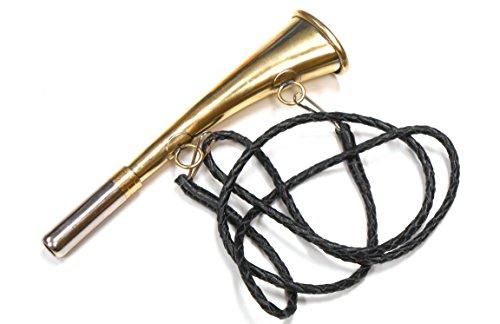 Corneta de calidad, corneta de caza, corneta de soplo Con trenzado a base de cuero auténtico, Medium