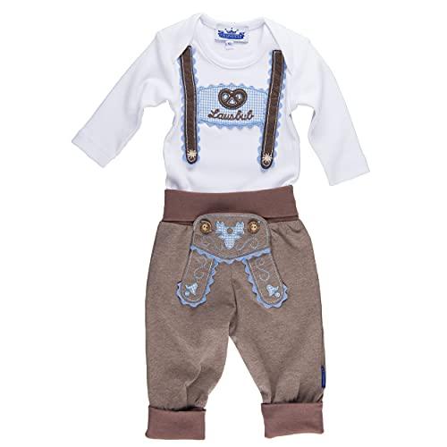 P.Eisenherz Trachten Set für Lausbuben im Geschenkkarton: Baby Body mit langem Arm und Applikation Hosenträger und Baby Jogginghose Lederhosen Look, braun