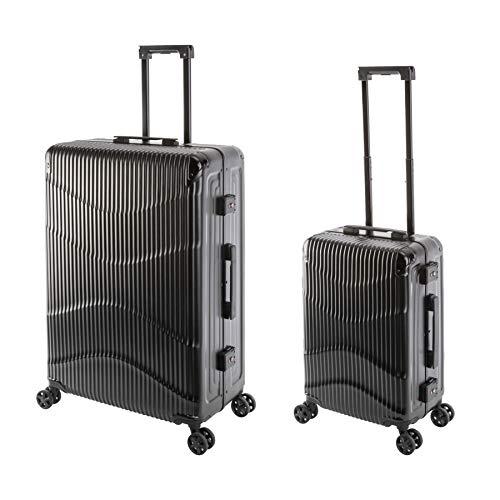 Travelhouse - NY Wave - 2er Koffer-Set, Polycarbonat Hartschalenkoffer, S-55, L75 cm, Design-TSA-Nummernschlösser, Alu-Rahmen, Schwarz