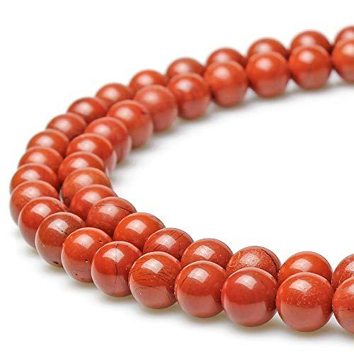 jartc Perline per Braccialetti Energetico Braccialetto Yoga Braccialetto Fai da Te Perle di Pietra Diaspro Rossa 45 Pezzi con Perle di Chakra, 34CM,8 mm