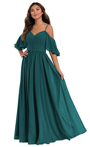 Ufashion Women's Spaghetti Straps Chiffon Bridesmaid Dresses Long Off The Shoulder Formal Ball Gown Size12 Teal