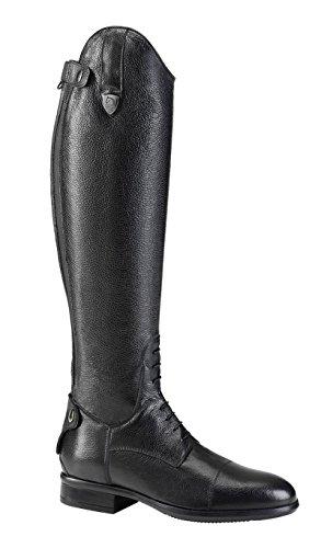 Tattini Bretonische Reitstiefel, genarbtes Leder, lang, Wadengröße L, Schwarz - Schwarz  - Größe: 38 EU