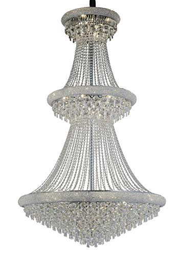 Inspired Diyas - Alexandra - Lámpara de techo colgante de 3 niveles 37 Cromo pulido claro, Cristal
