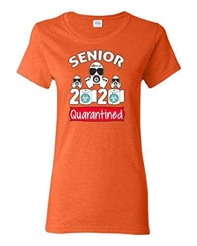 Wild Bobby Seniors Class of 2020 Quarantined Face Hazard Social Distance Gift   Womens Pop Culture Graphic T-Shirt, Orange, 2XL