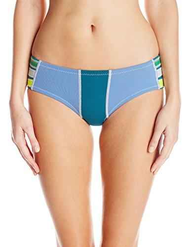 Cynthia Rowley Women's Color Block Fiber-Lite Bikini Bottom, Navy/Acid Blue/Lemon, Small