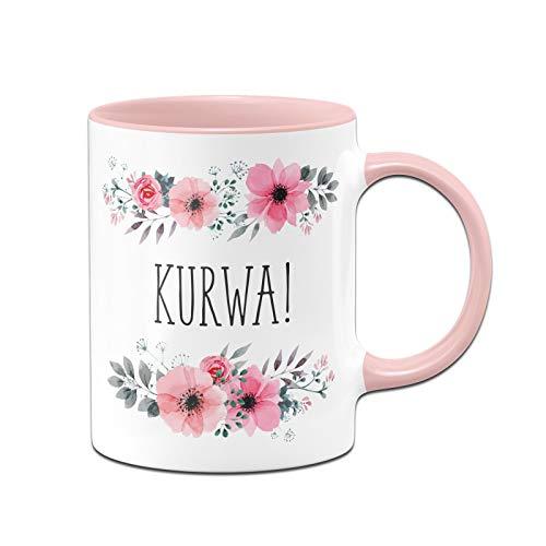 Tassenbrennerei Tasse mit Spruch Kurwa - Kaffeetasse lustig polnisch, Polen - Spülmaschinenfest (Rosa)