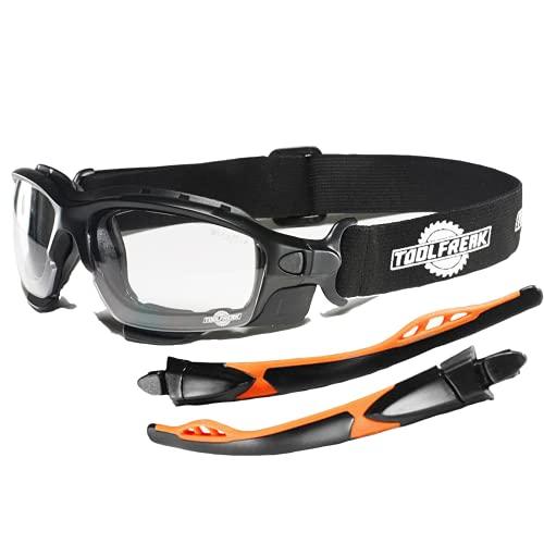 ToolFreak Spoggles Lunettes de sécurité pour le travail et le sport, rembourrées en mousse, verres transparents, protection contre les UV et les chocs, pochette de transport