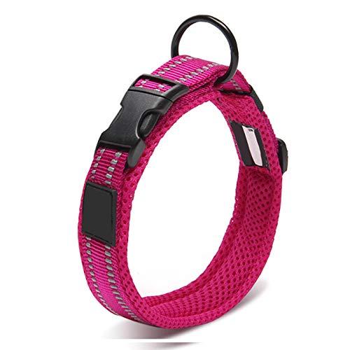 Yuan Ou Collar de Perro Collar de Perro Mascota Acolchado de Malla Ajustable Collar de Perro de Nailon Reflectante 3M Duradero Resistente para Todas Las Razas y Todo Tipo de Clima