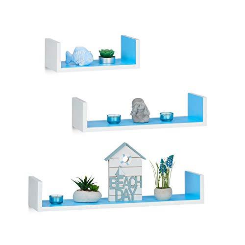 Relaxdays Juego de Baldas Flotantes Modernas, Madera, Blanco-Azul, 10 x 60 x 15 cm, 3 Unidades