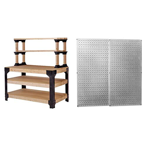 2x4basics 90164 Custom Work Bench and Shelving Storage System, Black & Wall Control 30-P-3232GV Galvanized Steel Pegboard Pack