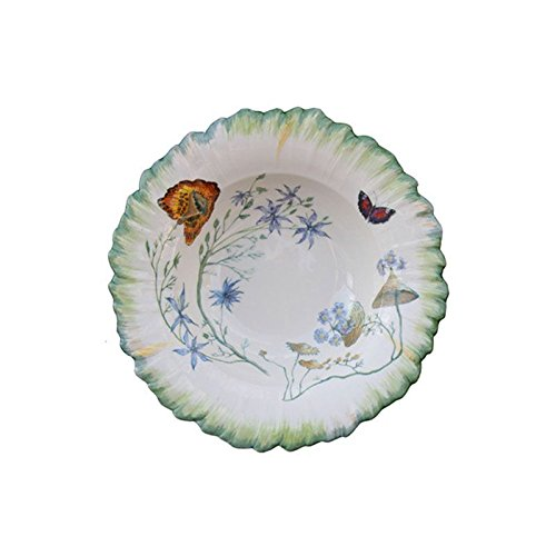 Faïencerie de Niderviller ~ Assiette Creuse Ronde Folies botaniques faïence - Lot de 4