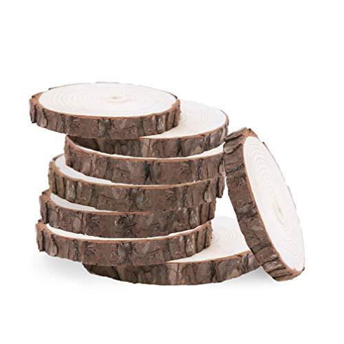 Exceart 20 STK. 8-10 cm Natürliches Rustikales Holz Holz Scheiben Scheiben Baum Rinde Rand Platte Kuchenständer Hochzeit Weihnachten Wohnkultur Herzstück-Holz Runde für DIY Handwerk
