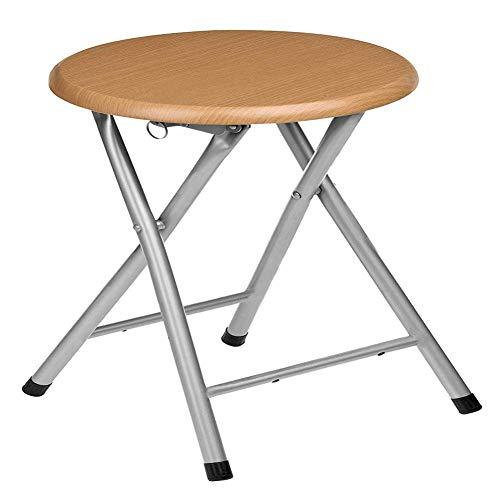 YIQIFEI Bügelstehhilfe Sitzkissen Klappbarer Haushalt Holzoberfläche Metall Outdoor Tragbar Einfacher Esstisch Erwachsener Stuhl Freizeit Runde Bank