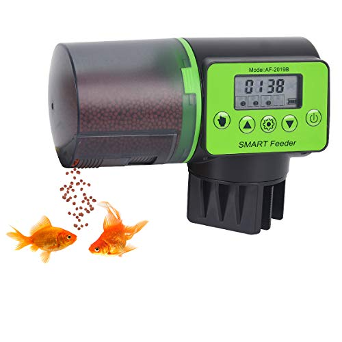 Automatic Fish Feeder, Auto Vacation & Weekend Timer Feeder for Aquarium Betta Fish Tank, Fish Food Dispenser, LED Display, Programmable, Clamp & Velcro, 10-160 Gallons Fish Tank, Battery Included.