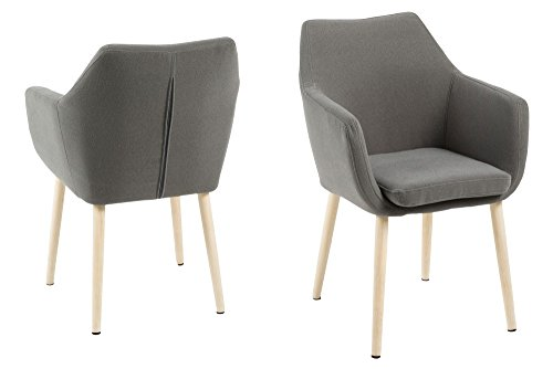 AC Design Furniture Brazo Silla Nora en Gris Claro Sillón Madera de Roble Silla Silla (