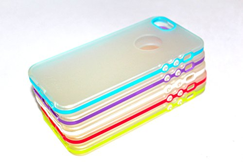 mollycoocle iphone case 5s iPhone SE Case, 5/5S Case (5pcs) EZstation Color Bumper Trim Slim Clear Matte See-Thru Cover Case Snap-On Clear Back Skin Case for iPhone SE / 5 / 5S (Teal, Mint Green, White, Hot Pink, Purple)