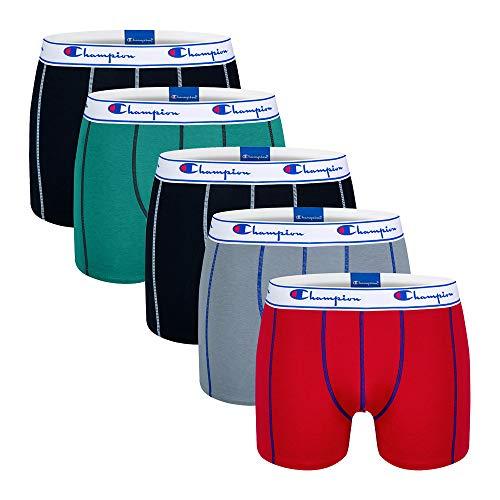 Champion Herren Boxer Coton X5 Boxershorts, Mehrfarbig (Noir/Vert Menthe/Rouge/Gris/Noir 9nn), Large (5er Pack)