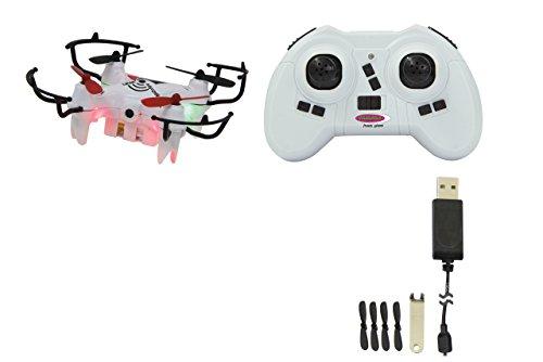 Jamara 422038 MiCoSpy FPV Drone WiFi Headless Flyback – 720 x 576px Video+Foto-Kamera, Track Following, steuerbar über Sender/App/G-Sensor, 4 kraftvolle Rotoren,360° Flip,LED,30 Km/h