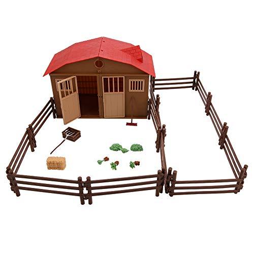 25 Stücke Bauernhof Spielzeug Nutztiere Figuren Spielset mit Scheune Haus Zaun Bauernhof Set für Kinder Jungen und Mädchen Geschenk