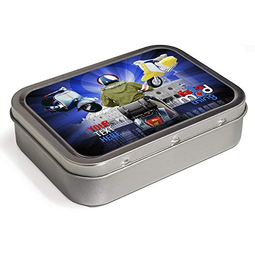 Personalised MOD Scooter Vespa 2oz Tobacco Tin   Baccy Storage   Pill Box   Cigarette Rolling Stash Can KS64