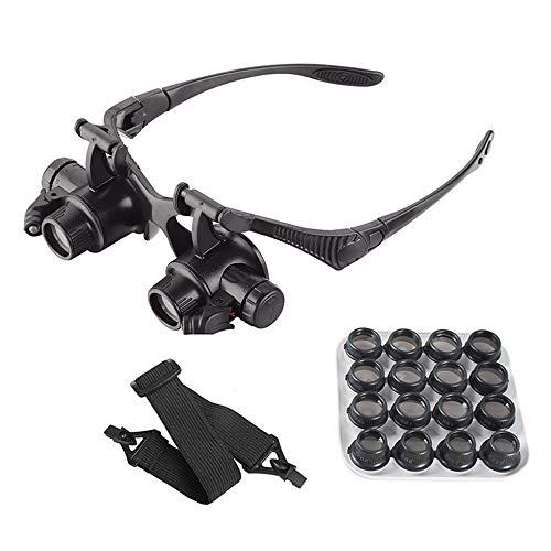 XJF Lupa para la cabeza con luz LED, manos libres, cabeza de lectura con 16 lentes desmontables para leer joyeros lupa reloj reparación